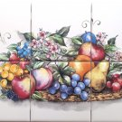 Fruit Ceramic Tile Mural Apple Pear Grape Peach 6pcs Backsplash Kiln Fired