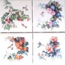 "Hummingbird set of 4 kiln fired ceramic tiles 4.25"" x 4.25"" Bird and Flower"