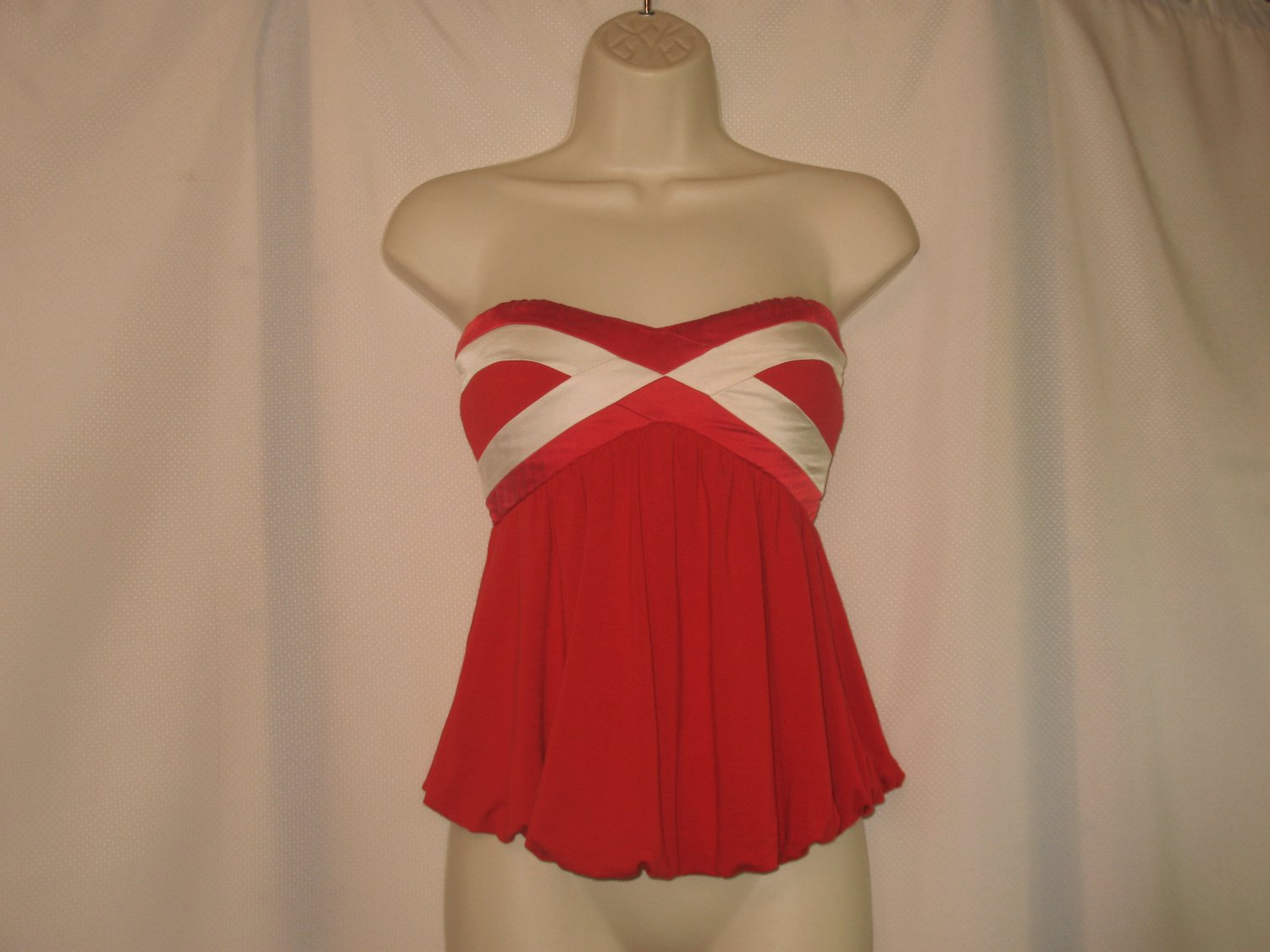 Bebe xs Red White Contrast Silk Strapless Top Nautical Top Bubble Hem Rayon