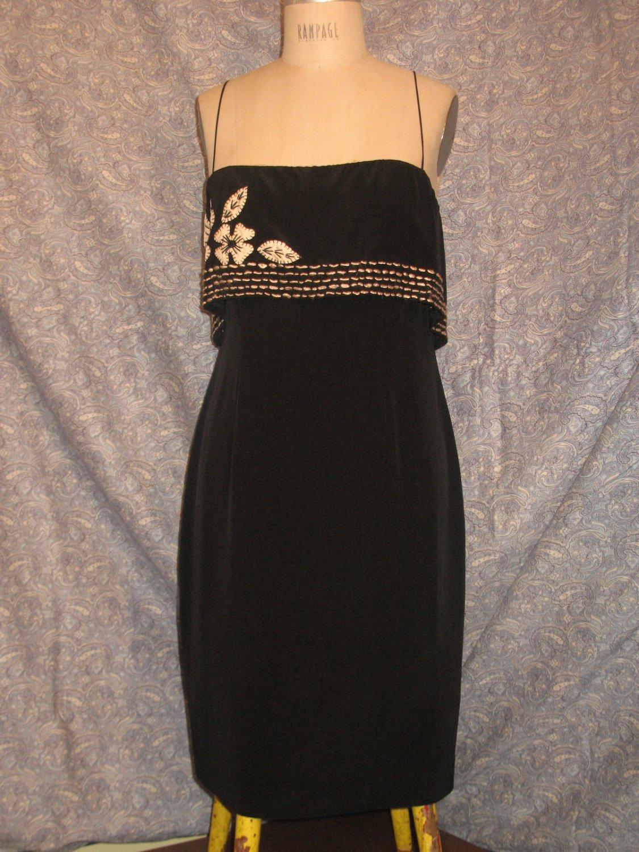 Foley & Corinna Large Black Silk Dress Ruffle & Embroidery