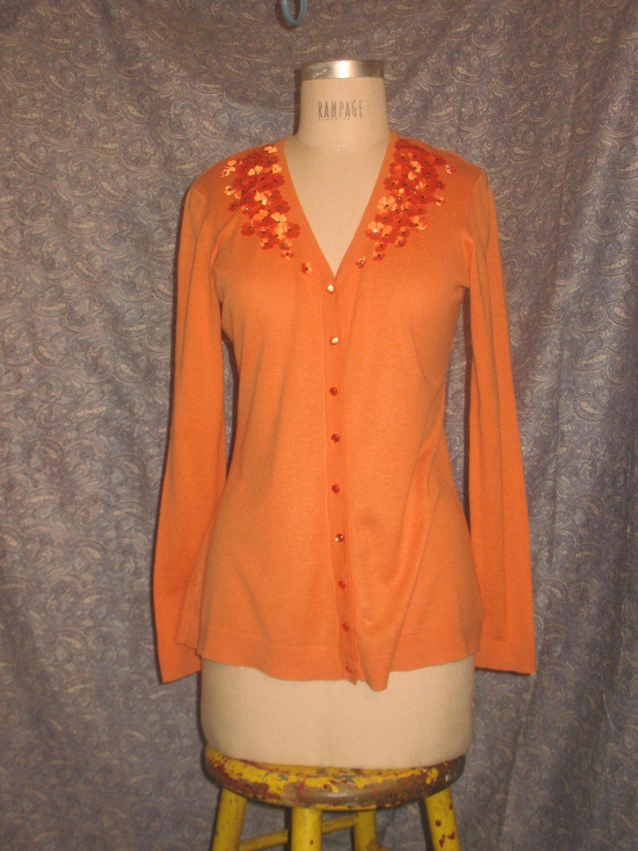 Chadwick's m Orange Cardigan Laser Flower Trimmed Sweater