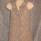 Banana Republic Sleeveless Silk Blouse Lace Pattern Ruffle xs