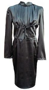 Vintage long satin tea dress-10 12 Victorian steampunk gothic 40's 50's retro