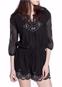 -NEW VINTAGE cotton embroidered playsuit designer dress-8 10 12 14 boho festival