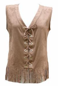 MORGAN suede look tassel waistcoat tunic blouse-12 rock boho hippy festival 60's