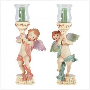 CHERUBS GLASS VOTIVE HOLDERS  Item #33225
