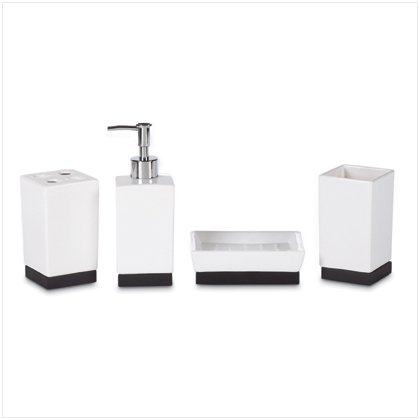 BLACK & WHITE CERAMIC BATH SET  Item #37559