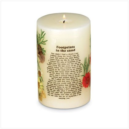FOOTPRINTS IN THE SAND CANDLE  Item #29549