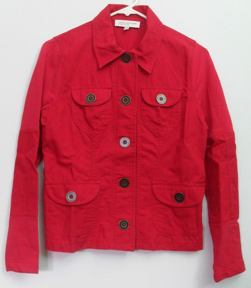 Jones New York Sport Petite PP 4 Pockets Button Down Cotton Stretch Jacket