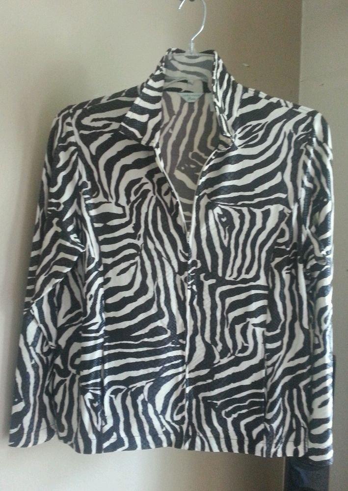 Laura Ashley Petite PL Zip Jacket Top Black Snake Skin Animal Print Wet Look
