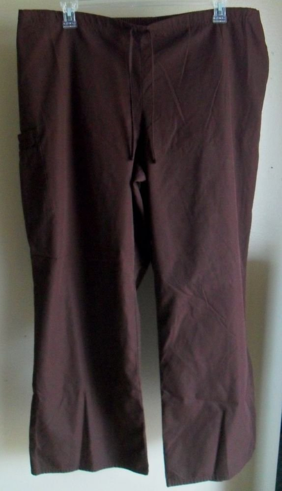 SB Scrubs Brown 2X Womens Half Elastic Plus Drawstring Multiple Pockets