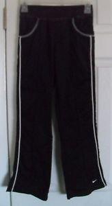 Girls Nike Athletic Black & White Pants Medium 10 / 12 Elastic & Drawstring