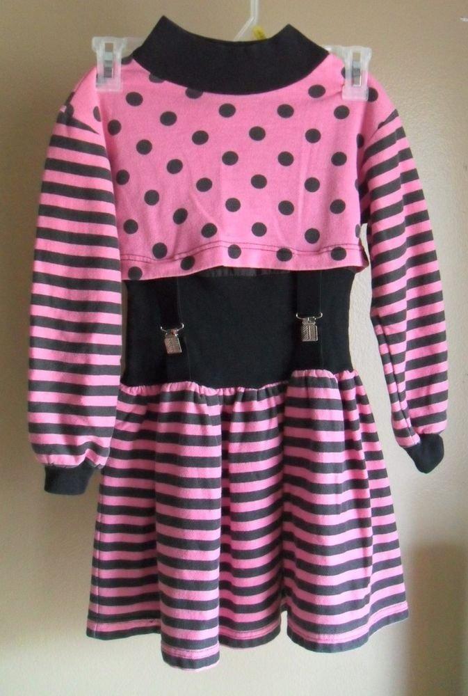 Amy Too! Byer California Girls Polka Dot Striped Pink Black Suspender Dress sz 7