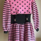 Amy Too! Byer California Girls Polka Dot Striped Pink Black Suspender Dress sz 7