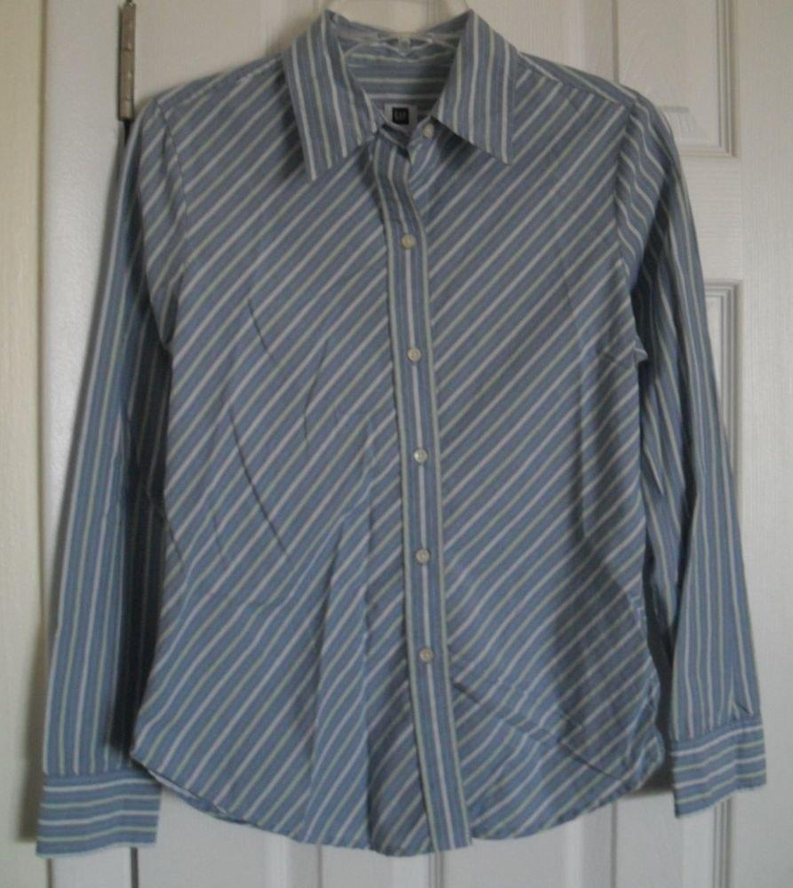 Gap Striped Blue & White Button Down Dress Shirt size Small