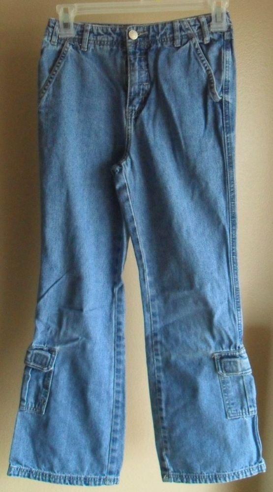 Girls Arizona Jeans Co.  Size 10 Regular Blue Denim 6 Pocket  w/ 2 Cargo Pockets