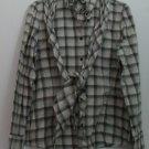 Lauren Jeans by Ralph Lauren Ruffle Collar Crosshatch Beige Gray w/ Scarf Tie L