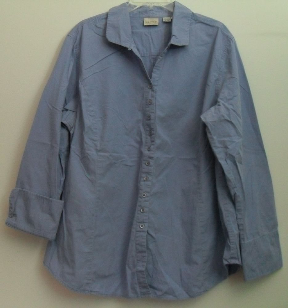 Paradox Blue Purple Light Periwinkle Princess Seams Button Down Blouse Size 22