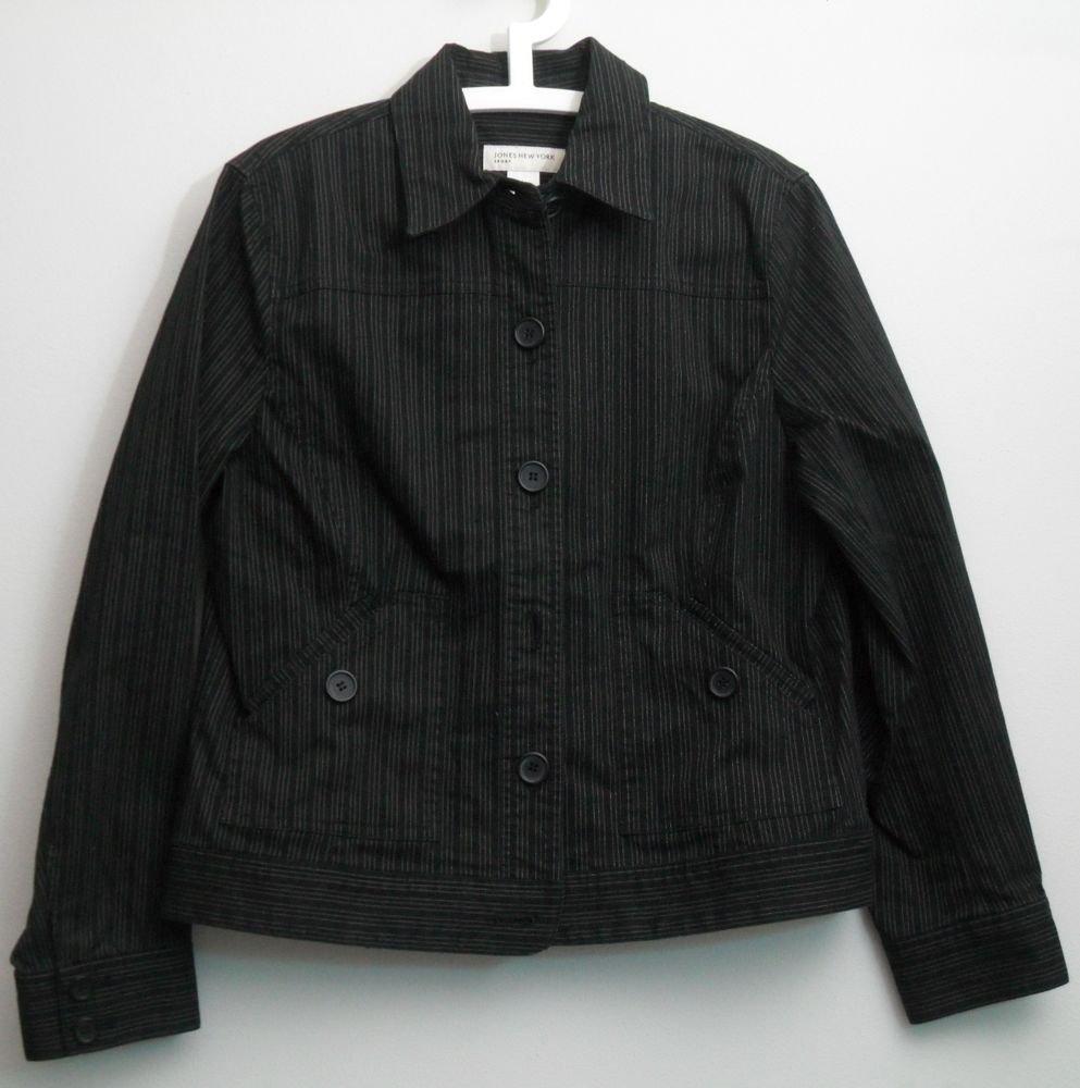 Jones New York Sport Blazer Jacket Large Black w/ Tan Stitching 2 Pockets Button