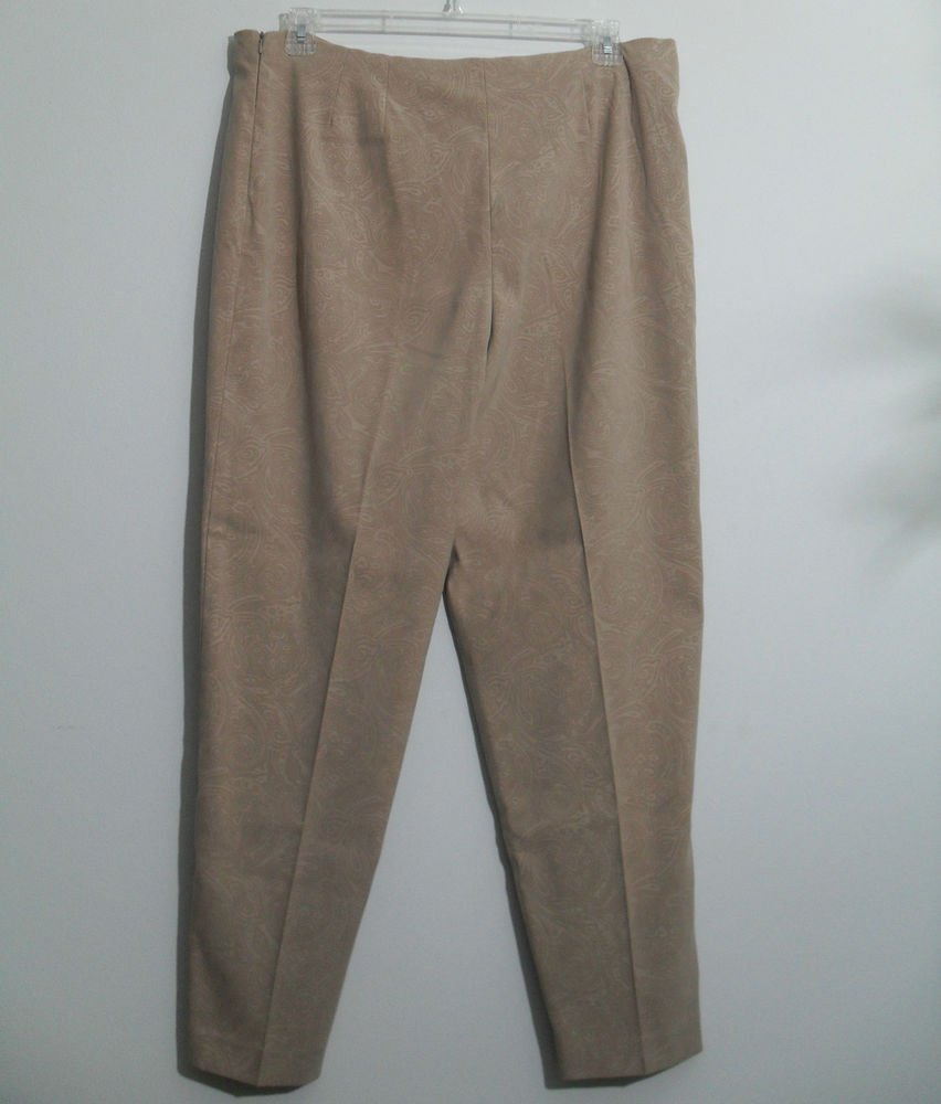 Coldwater Creek Beige / Tan Dress Pant Size 16 Permanent Front Seam No Pockets