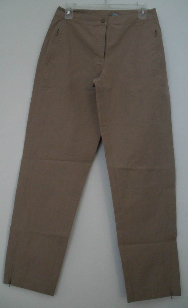 L.L. Bean Women's Regular Nylon Spandex 2 Zipper Pockets Tan Snap Button Pants
