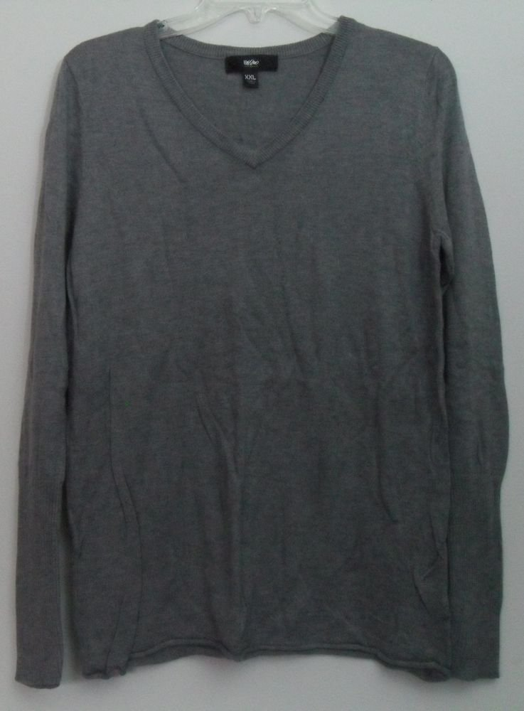 "Mossimo XXL Lightweight Sweater Gray Long Sleeve Pullover Nylon Rayon 36""B 25""L"