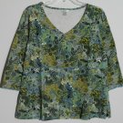 Christopher & Banks Womens XL Pullover Top V-Neck Empire Waist Exposed Stitching