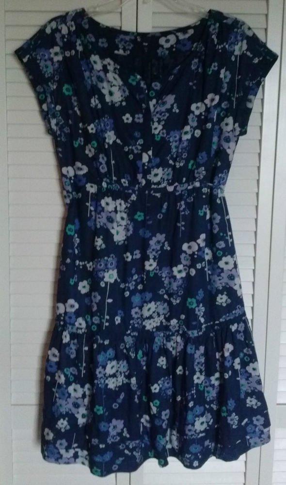 Gap Dress Viscose & Cotton Hidden Snap Top Half w/ Cinch Draw Waist Tie Size 6
