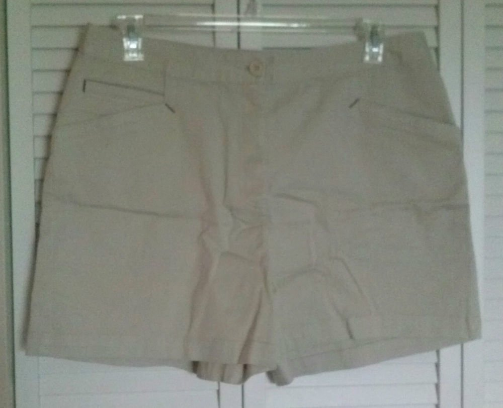 St. John's Bay 16 Cotton Stretch Casual Dress Shorts Front Angled & Coin Pockets