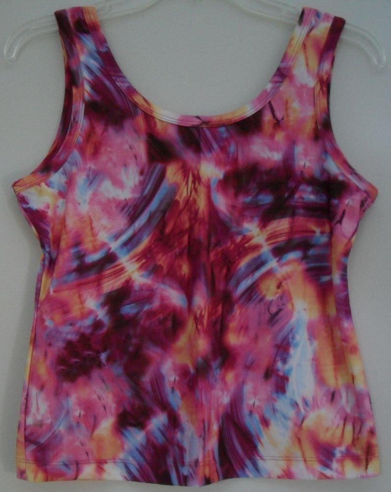 Athletic Works Women Spicy Magenta Tie Dye Running Tank 14/16 Poly/Spandex Blend