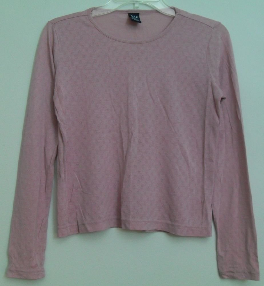 Gap Medium Pink Thin Tissue Weight Thermal ? Layering ? Top Long Sleeve Easy Fit