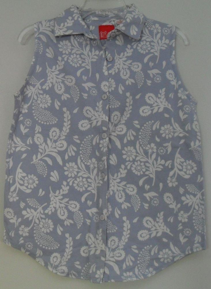 Liz & Co. Blue White Floral Pattern Sleeveless Top Button Front Size Medium