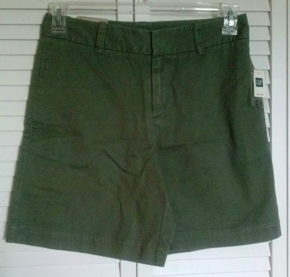 Womens GAP KHAKIS Size 4 Military Army Green 100% Cotton Flat Front Shorts