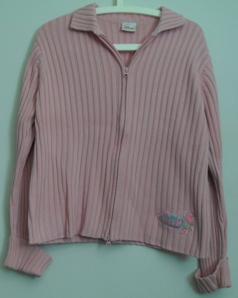 Disney Store Tinker Bell Pink Long Sleeve Two Way Zipper Cuffed Collared Sweater