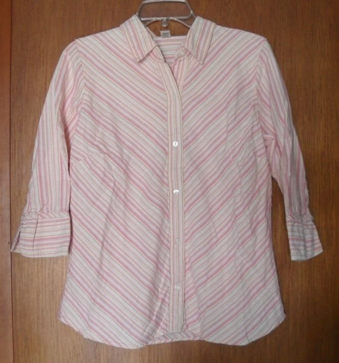 Old Navy Easy Fit Linen Cotton Misses Large Pink Shades Princess Seams Stripes