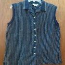 Reebok Ladies Large Button Down Sleeveless Golf Shirt Navy Blue Vertical Stripes
