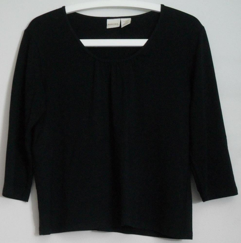 Merona XL Black 3/4 Sleeve Rayon Lycra Blouse Knit Top Center Pleat