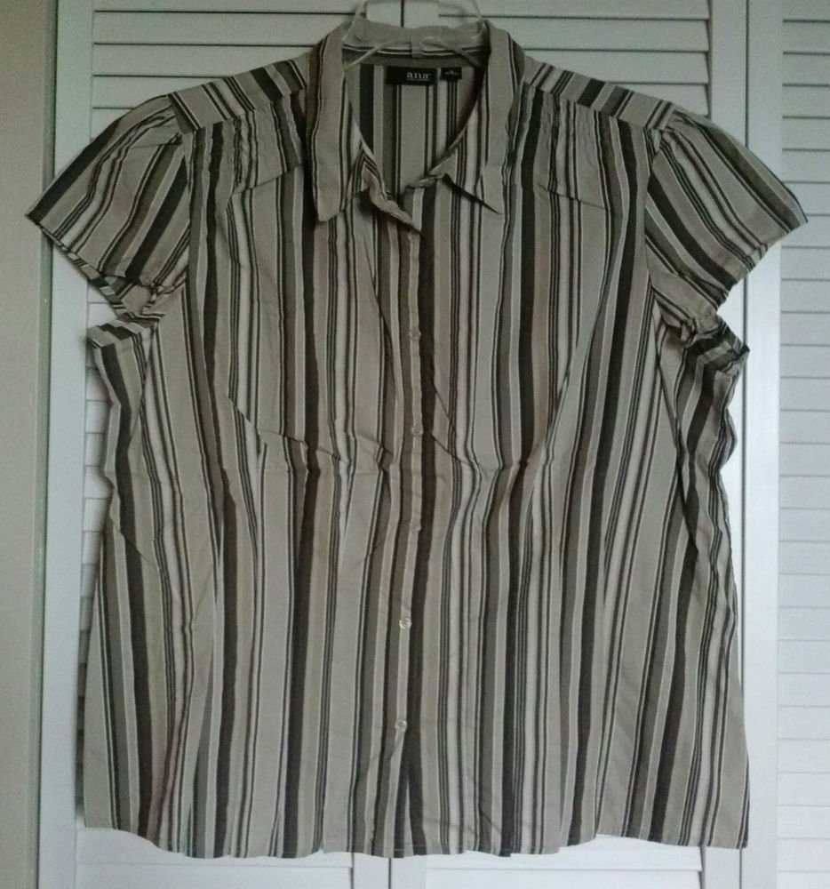 a.n.a. A NEW APPROACH  1X Brown Striped Elastic Gather Shoulders Button Blouse