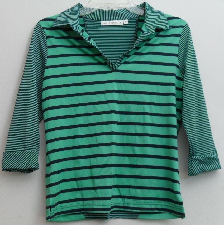 Bette & Court Women's Active Gear Mint Green Golf V-Neck Navy Blue Stripes Small