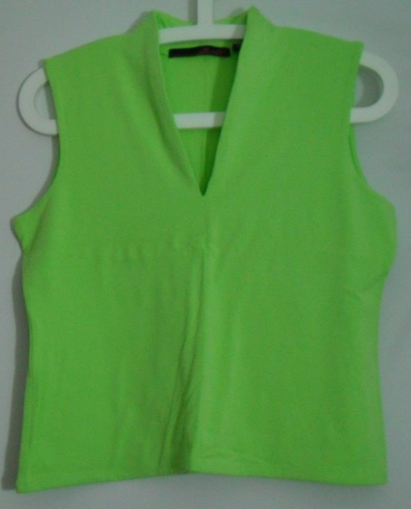 Willi Smith Neon Green M Medium Rayon Spandex Sleeveless Tank Top Knit V-Neck