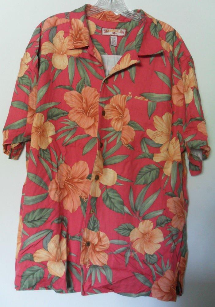 Caribbean Joe Let Go Floral Red Orange Green Leaves Button Front LT Chest Pocket
