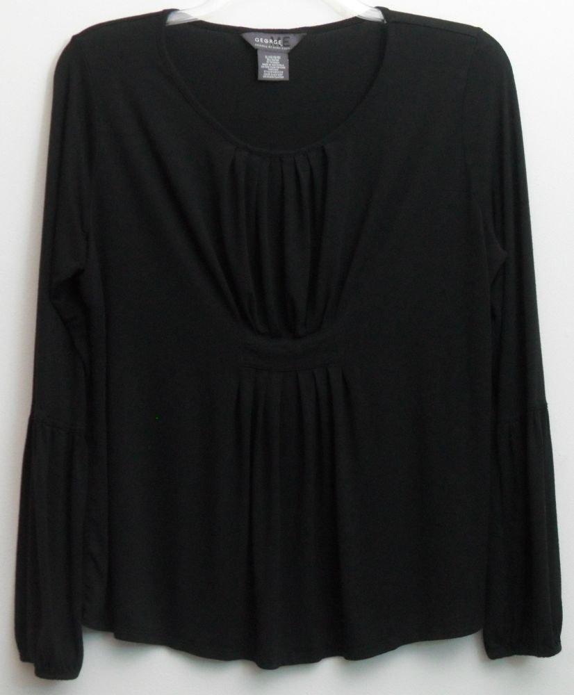 George ME Mark Eisen XL Black Knit Top Rayon Spandex Long Sleeve Blouse