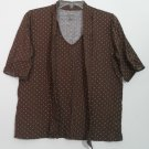 Womens Merona  XL Brown Pullover Top  Cotton Modal V-neck w/ Attached Scarf Tie