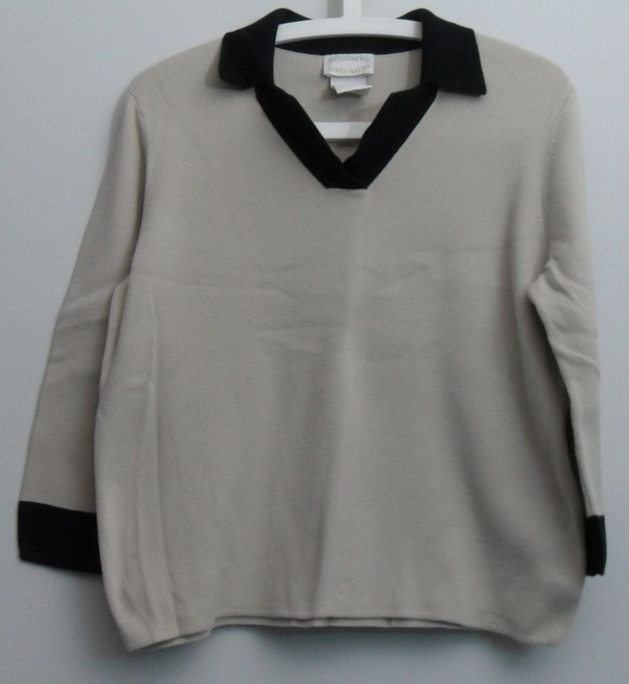 Designers Originals Squared V-neck Collar Beige and Black Knit Sweater Top Large