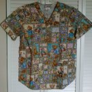 Cherokee Small Pocket Scrub Top Bears Panda Plant Heart Garden Dreams Friends
