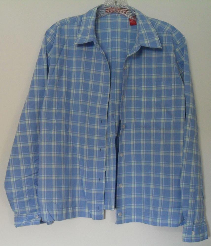 Gloria Vanderbilt White/Blue Checkered Button Down Collared Long Sleeve 1 Pocket