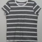 Sonoma Life + Style Black & White Horizontal Stripe Short Sleeve 100% Cotton Top