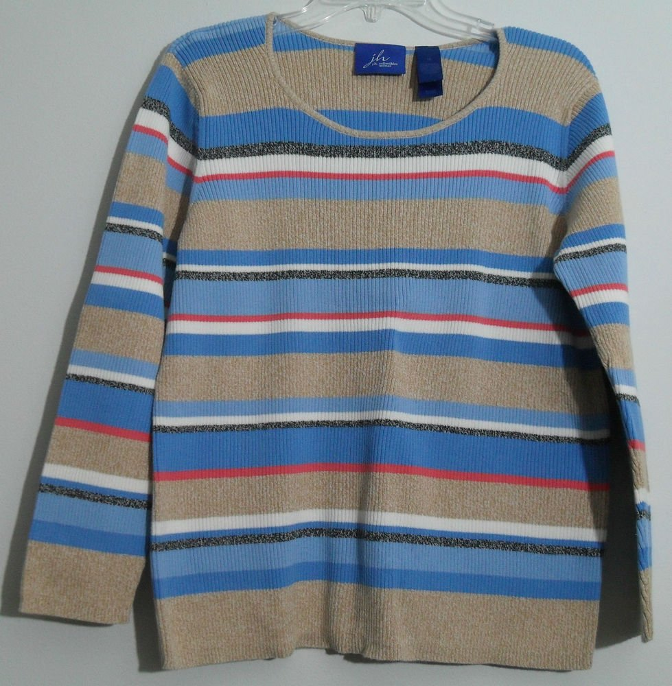 J.H. Collectibles Woman Women Plus 1X Horizontal Striped Cotton Pullover Sweater