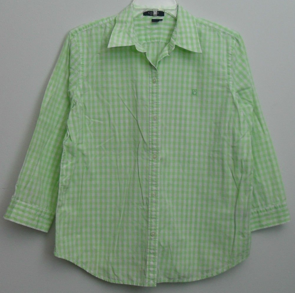 Chaps Large Green & White Gingham Checkered Plaid No Button Slit Cuff Blouse Top