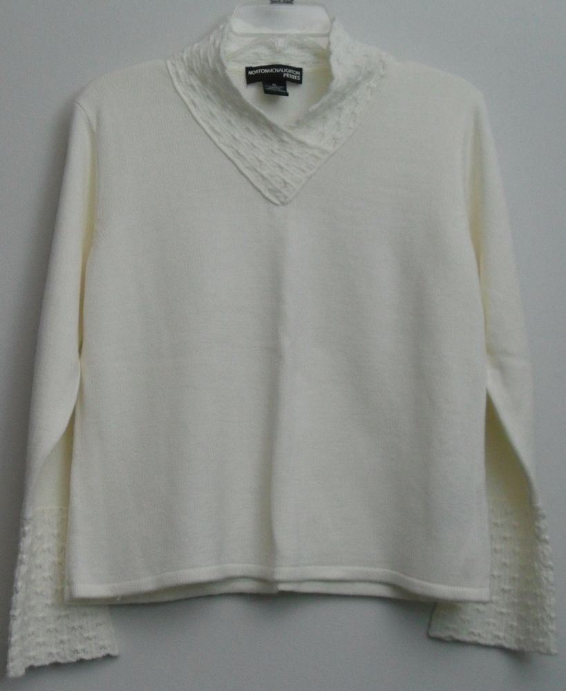 Norton McNaughton Petites PL Off-White Cream Crocheted Bell Sleeves & High Neck